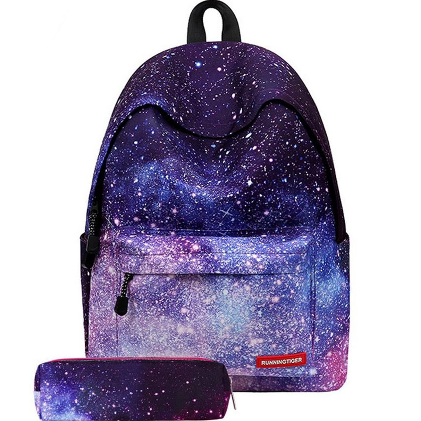 2017 hot Multicolor Women Canvas Backpack Stylish Galaxy Star Universe Space Backpack Girls School Backbag Mochila Feminina 2017 new women galaxy star universe space canvas backpack multicolor school bags for girls mochila feminina teenage campus bags