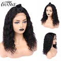 HANNE Short Water Wave 4*4 Closure Wigs Middle Part Human Hair Wigs Glueless 10-16inches Cosplay/Party Wig for Women 1b# Color