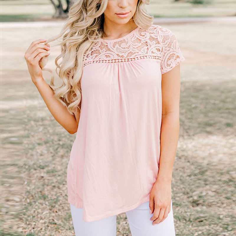 Promotion Cheap Ladies Lace Short Sleeve Patchwork Brief Summer Solid Clothing Women Loose Casual O-neck Tops   Blouse     Shirt