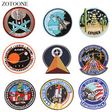 ZOTOONE Round Rocket Planet Patches Diy Stickers Iron on Clothes Heat Transfer Applique Embroidered Applications Cloth Fabric G zotoone round punk patches diy skull stickers iron on clothes heat transfer applique embroidered applications cloth fabric g