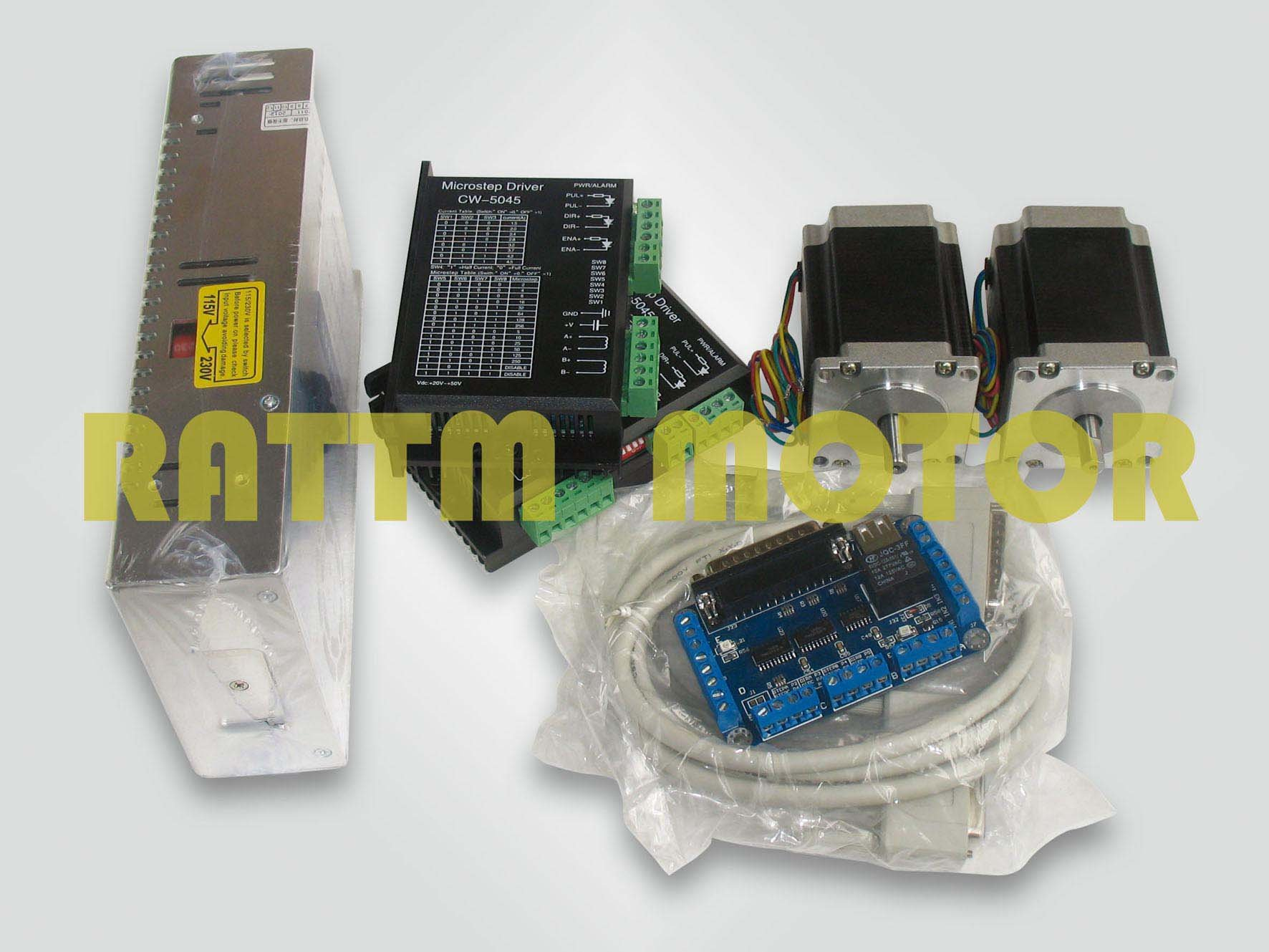 2 axis CNC controller kit 2 NEMA23 270 oz-in stepper motor&driver with 256 microstep and 4.5A current 4 axis cnc kit  nema23 3a 270 oz in