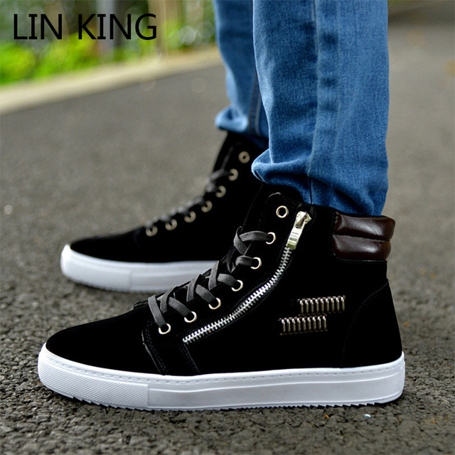 LIN KING Autumn Men Casual Shoes British Style Lace Up High Top Flats Thick Sole Zipper Shoes Solid Brand Mens Martin Boots