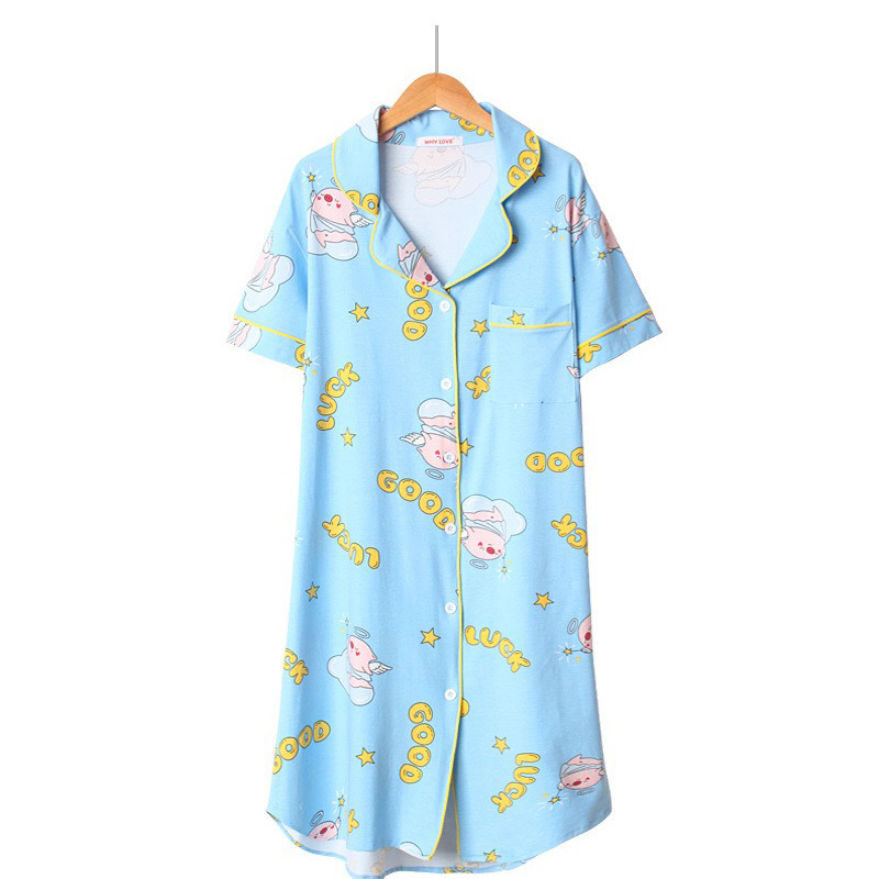 2019 New Women   Nightgown     Sleepshirt   Summer Loose Sleepwear Female Sweet Cartoon Piglet Printed Cute Dress Ladies Soft Homewear
