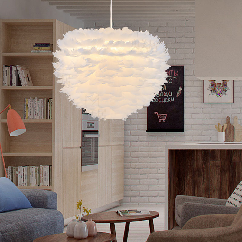 Nordic white feather Lamp creative personality bedroom pendant lamp living room window decoration feather hanging lightsNordic white feather Lamp creative personality bedroom pendant lamp living room window decoration feather hanging lights