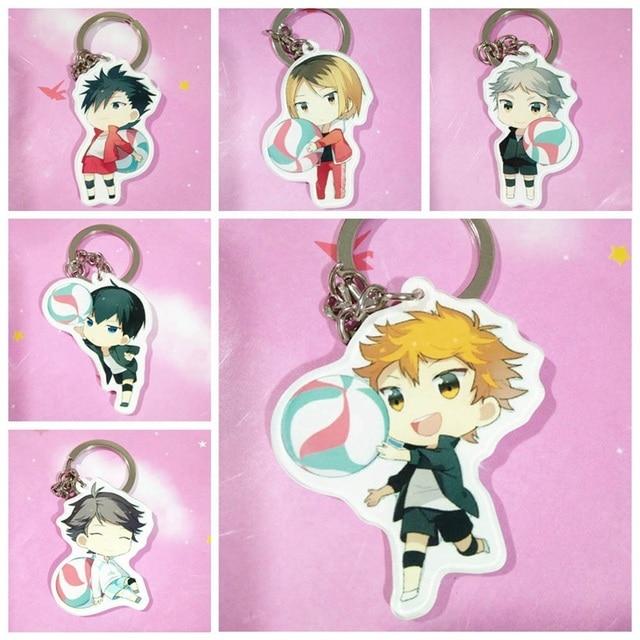 Nueva moda 6 estilos de voleibol llave Junior de doble cara de dibujos animados llaveros lindo Anime acrílico llavero Accesorios