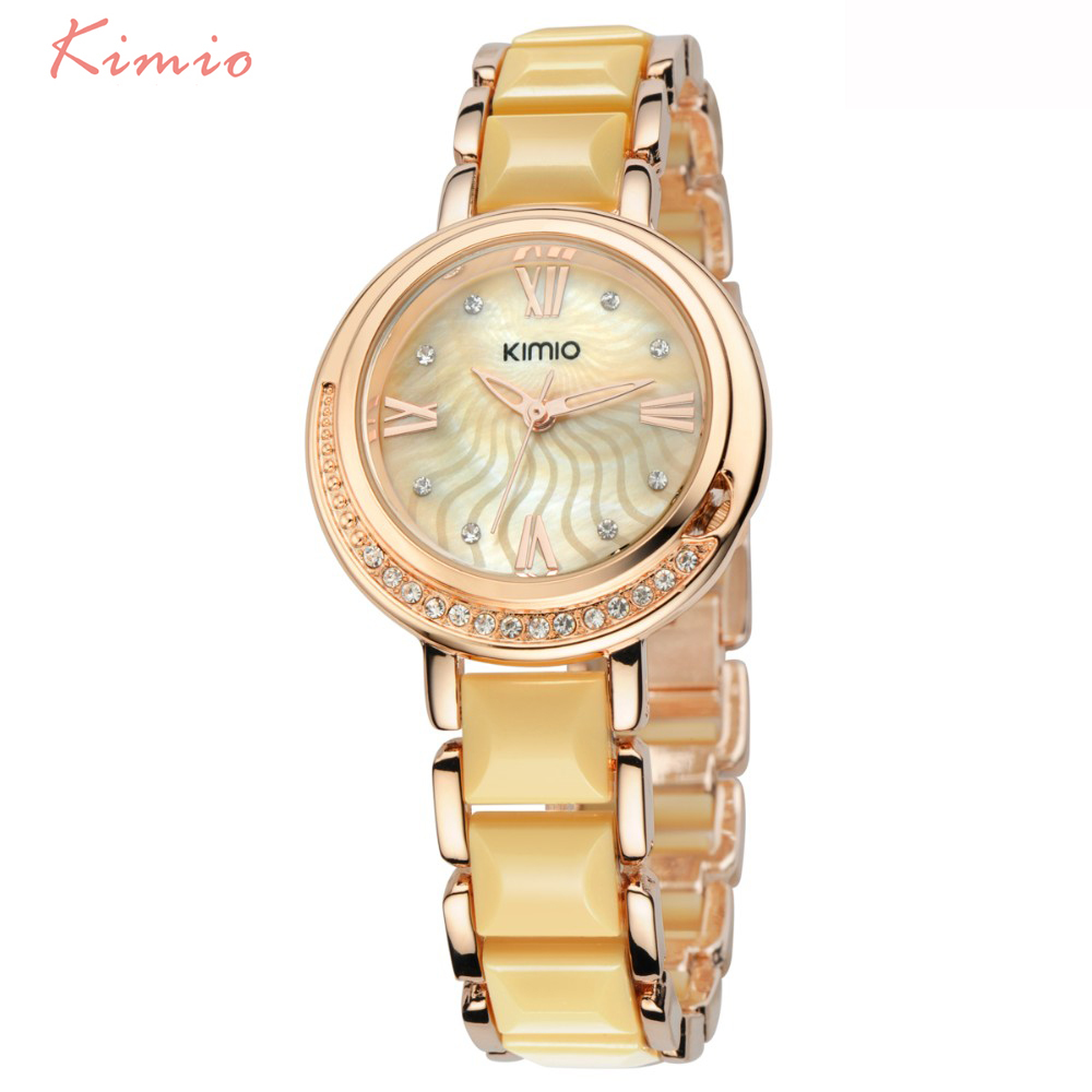 KIMIO Fashion Diamond Women Watch Crystal Rose Gold Bracelet For Women Luxury Brand Watches Women Quartz Wrist Watches For Women цена 2017