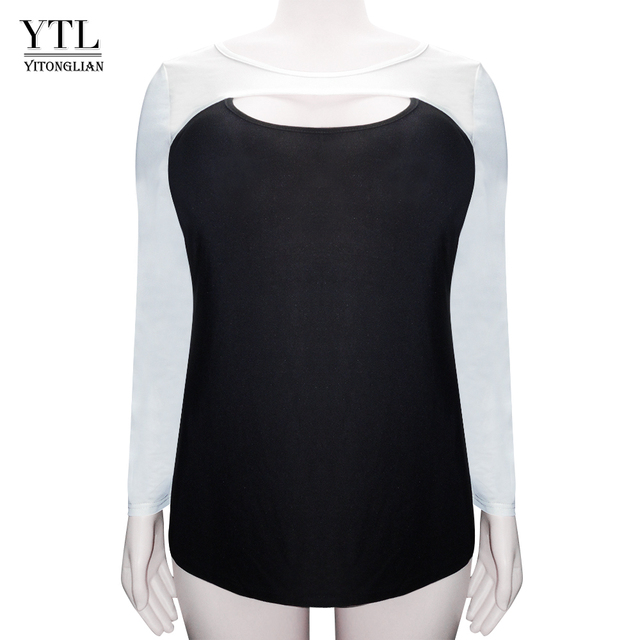 5f637b047 YTL Women's Sexy Plus Size Tops Off White Black Patchwork Cotton T Shirt  Women O Neck Hollow Out Long Sleeve T-shirt Tunic H100