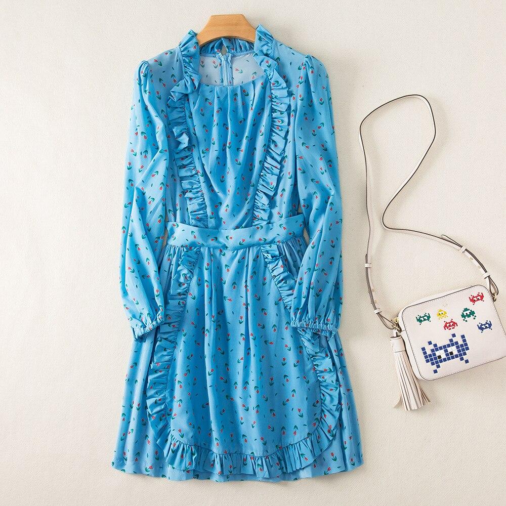 女性ドレス 2019 夏新プリントフリル長袖ドレス  グループ上の レディース衣服 からの ドレス の中 1