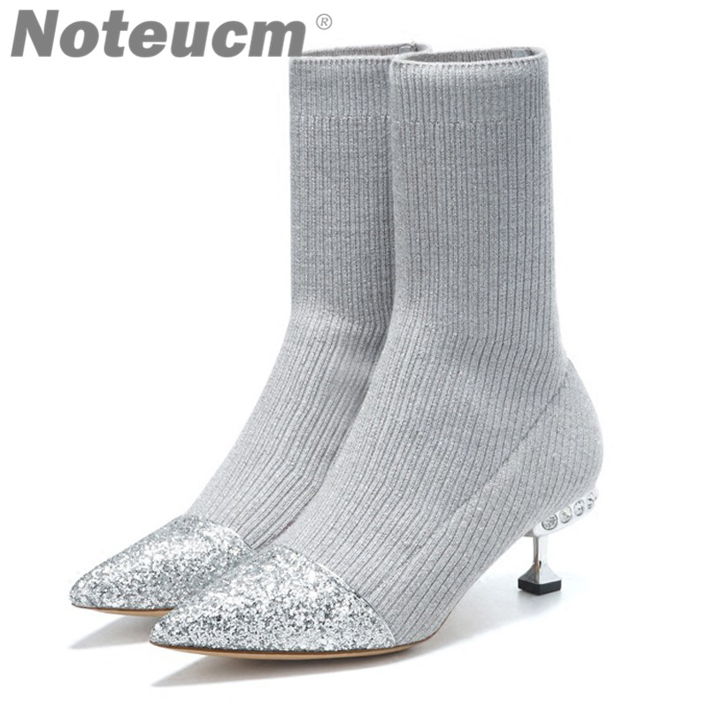 women luxury stretch silver metal fabric bling bling sequin ankle glitter low heel knit elastic sock boots with Rhinestone shoe цена 2017