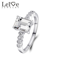 925 Silver White Topaz Ring Natural Gemstone Women Engagement Rings Classic Anniversary Gift For Her