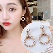 2019 Korea Style Fashion High-grade Pearl Ring-shaped Small Tide Temperament Female Joker Earring Clip Stud Earrings ring shaped stud earrings