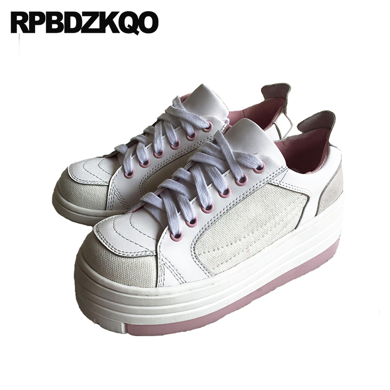 Elevator Lace Up Flats Leisure Thick Sole Sneakers Muffin Genuine Leather White Canvas Shoes Women Platform Harajuku Creepers
