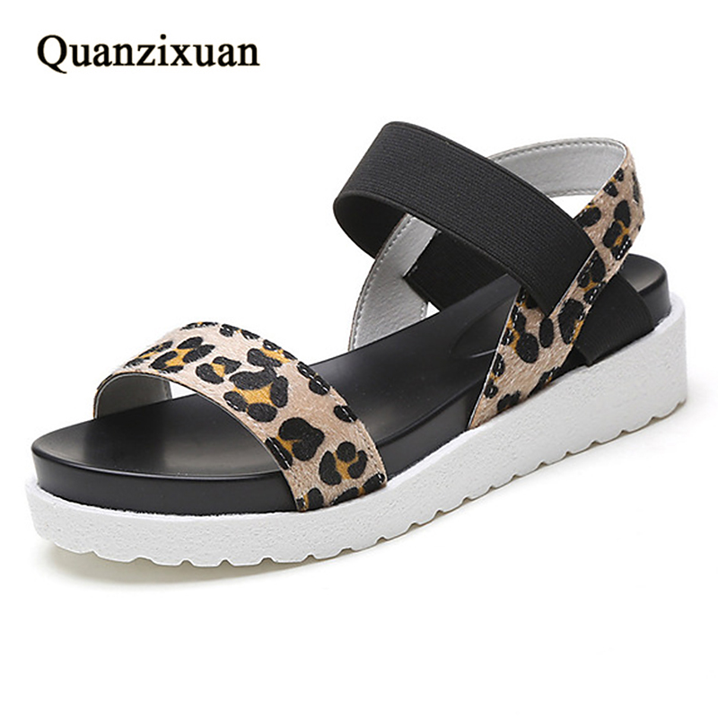 Quanzixuan Summer Women Sandals Fashion Creepers Women Shoes Flat Platform Simple Females Student Sandals