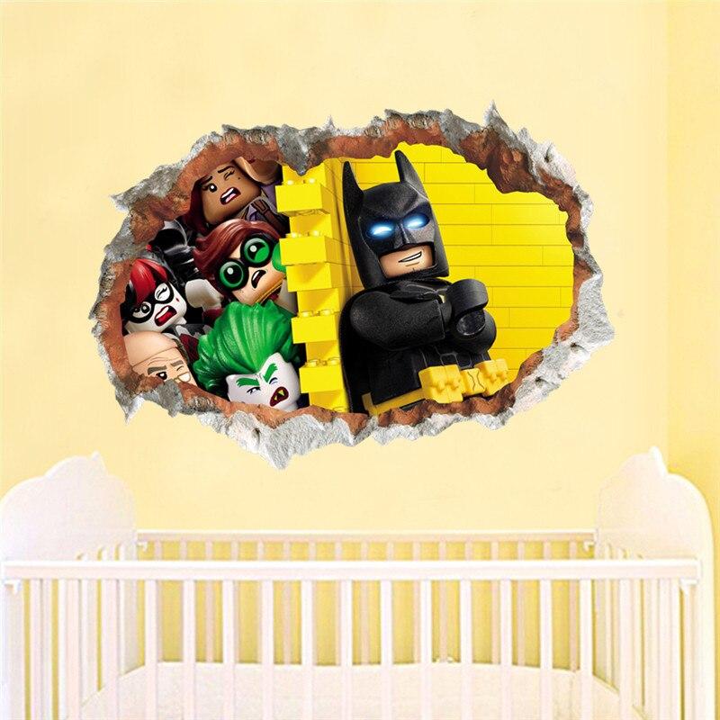 Lego Batman Super Heros Avengers Wall Stickers Kids Room Decoration 3d Cartoon Movie Mural Art Diy Home Decals Poster Boys Gift