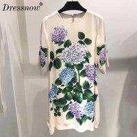 High Quality Summer Dress Women Runway Designer Printed Dress Runway Floral Dresses
