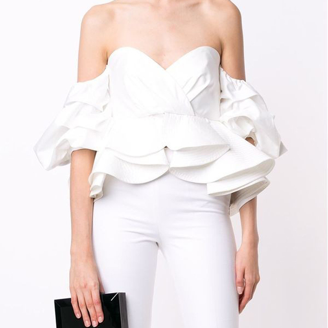 Women Sexy Tops Strapless Puff Sleeve Ruffles Pleated Patchwork Slim Waist Top Office Ladies Off the Shoulder Slit Short Shirt