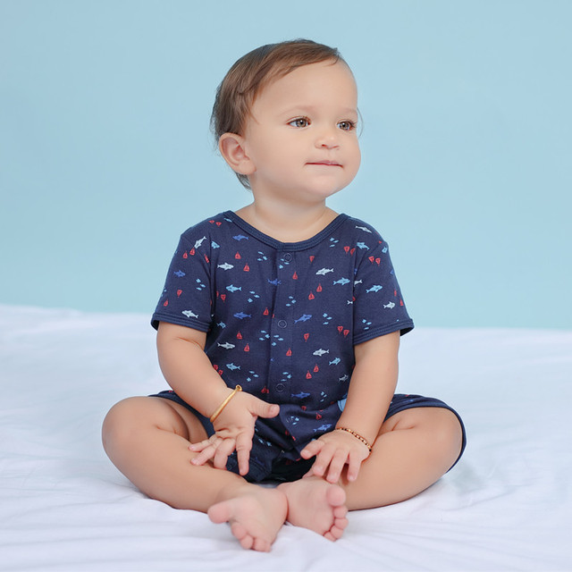 2019 official store Summer boys baby clothing Short Sleeved Jumpsuit Newborn Romper Baby Boy Clothes infant  0-24 Baby Rompers  1
