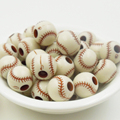 20PCs 12mm,hole Size (4mm), baseball Relief Acrylic round loose beads Making necklace bracelet diy jewelry charm Beads