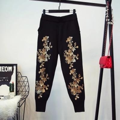Tricot Hiver Nouveau De Costume Manches Broderie Concepteur Superbe Taille Set Piste Longues Tops 1 Femmes Un 2 Automne Pantalon vmN0nw8