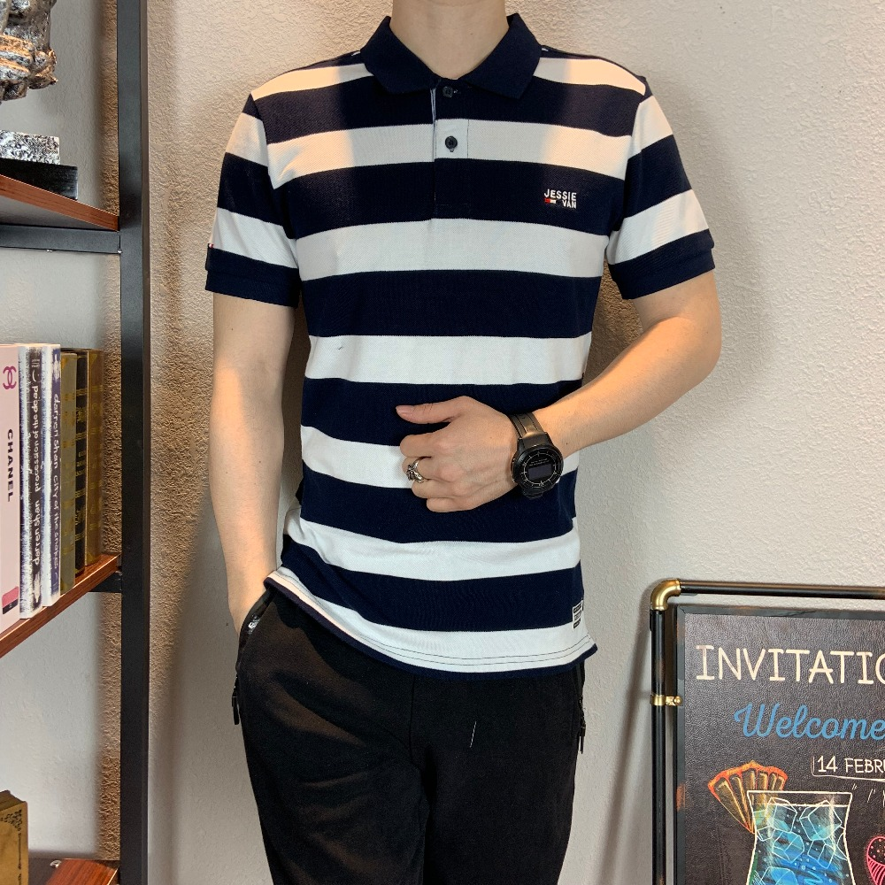 2019 New arrival summer   polo   shirt brand clothing striped breathable men's   polos   plus size XXXL fashion designer casual camisa