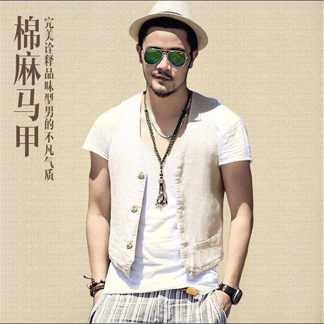 Men Fashion Vest Outwear Flax Gilet With Many Pockets Men'S Vest Male Colete Coat Sleeveless Shirt Colete Masculino A2238