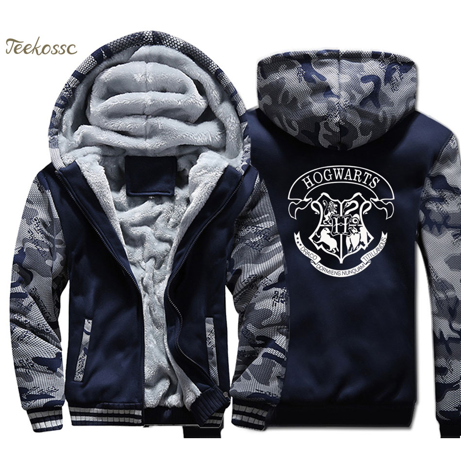 Hogwarts Hoodie Men Magic Hooded Sweatshirt Coat Winter Thick Fleece Warm Camouflage Jacket Printed Streetwear Plus Size 4XL