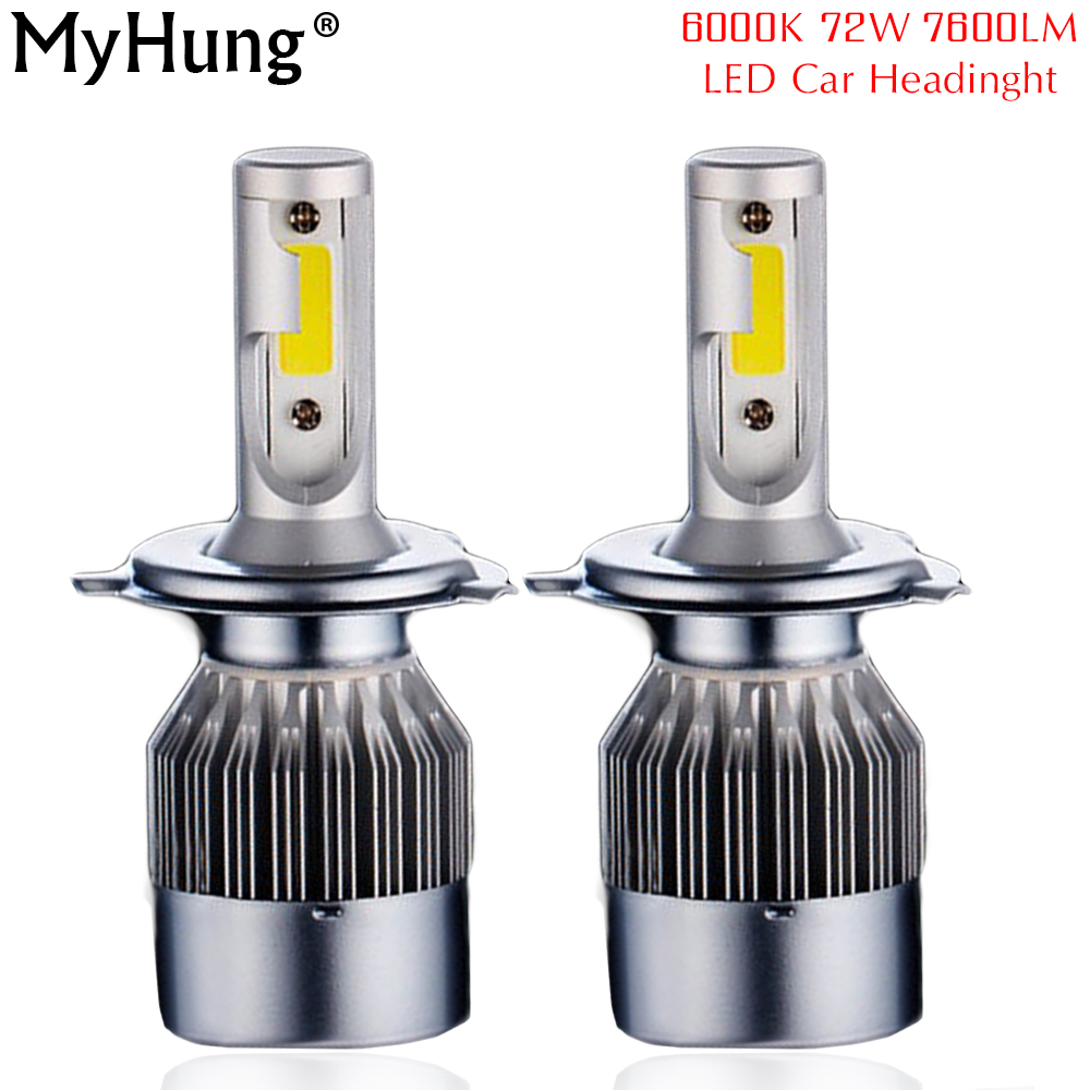 2pcs Headlights 72W 7600LM Car Led Light Bulbs H1 H3 H7 9005 9006 H11 H4 Automobiles 6000K Fog External Lamps c6 new 2016 2pcs xml2 car led 12 24v 2000lm car lamps headlights fog light h7 h11 h8 hb3 hb4 9005 9006 free shipping