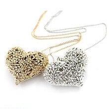 Hot Sale Women Jewelry Vintage Heart Pendant Long Necklace Link Chain Dress Decoration CC1308