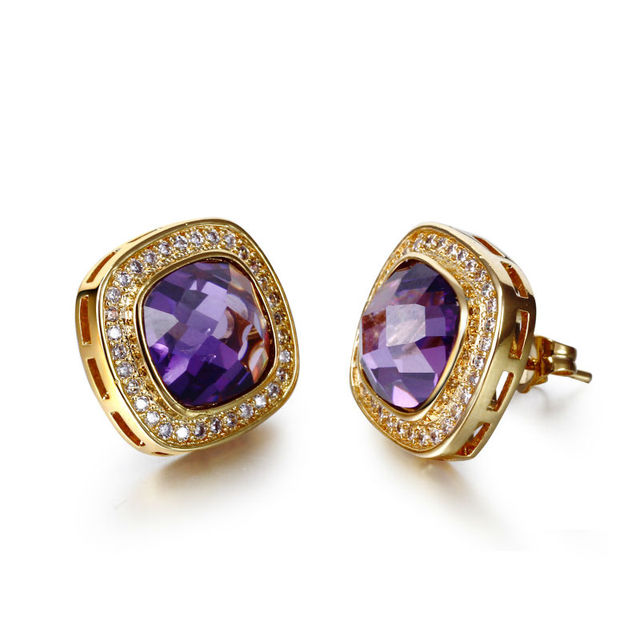 New 2017 Fashion Square Earrings Jewelry trend Party In 4 Colors Cubic Zirconia Stones Light gold Plated Women Stud Earrings