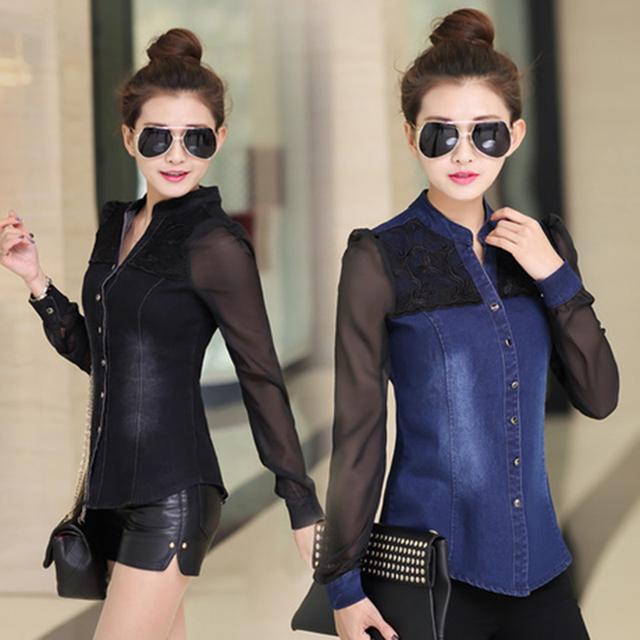 Womens Tops Fashion 2017 Korean Style Women Denim Shirt Top Body Jeans Shirts With Long Sleeves Camisa Jeans Feminina Blouse