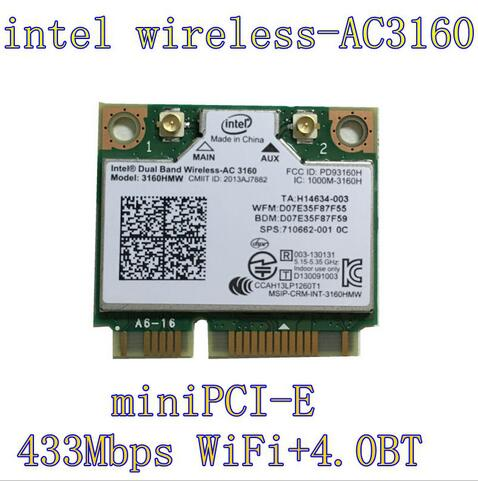 Intel Dual Band fără fir AC 3160HMW AC3160 3160HMWAC AC3160HMW Mini jumătate PCI-Express fără fir Wlan + Bluetooth4.0 Wifi Card