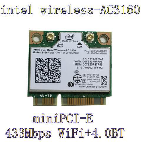Intel Dual Band Wireless-AC 3160HMW AC3160 3160HMWAC AC3160HMW Half Mini PCI-Express Wireless Wlan+ Bluetooth4.0 Wifi Card