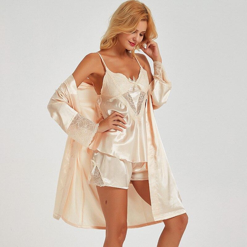Classic Women Wedding Home Shirt Bride Sexy Lace Trim Marriage Sleepwear Solid Pajamas Pyjamas Suit 3PCS Sleep Set Lounge M-XL