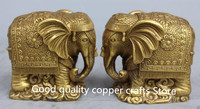 China archaize brass Elephant crafts Statue a Pair