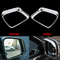 ABS Chrome Exterior Car Rearview Mirror Eyebrow Shelter Canopy Cap Cover Frame Sticker For Jeep Grand
