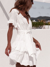 Summer Women White Dresses Embroidery Cotton Short Sleeve Casual Beach Dress Sundress Sexy Deep V-Neck Hollow Out Mini