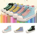 Freeshipping Best Selling Casual Lady Fashion Canvas Shoes Thick Sole Girl's Shoes Leisure Student Canvas Shoes 3 Colors V060