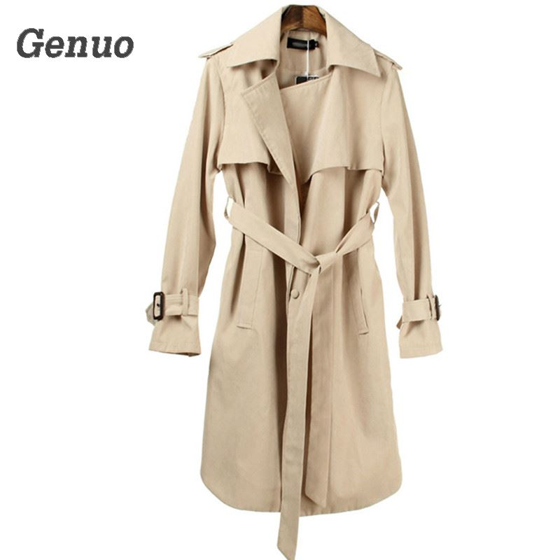Genuo Khaki   Trench   Coat Autumn Winter Women 2018 Casual Plus Size Long Sleeve Coat Vintage Long Pocket Coat Outerwear