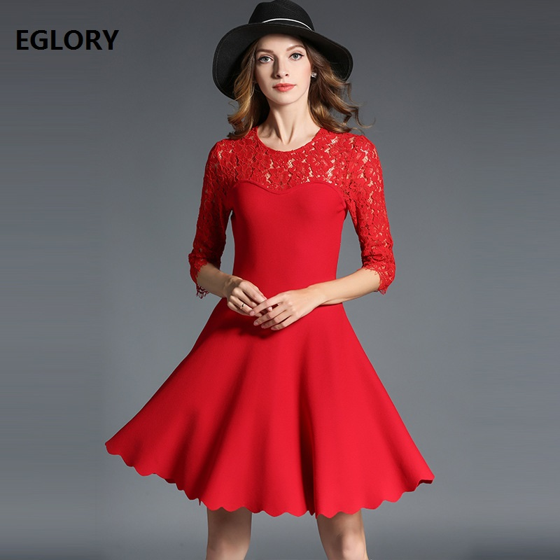 New Designer Womens Dress Hollow Out Lace Patchwork Knitted 3/4 Sleeve A-Line Rockabilly Black Red Sweater Dress Pullovers