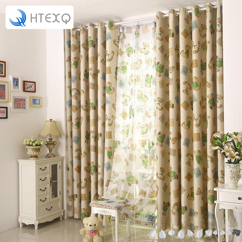 Free Shipping Children Curtain Teddy Bear Window Shades Fabric For Curtains Bedroom Finished Sheer In From Home Garden On