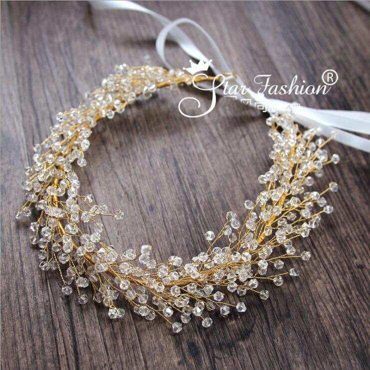Wedding hair accessories handmade beaded bridal hair jewelry gold head band crystal headdress leaf headpieces leaves headband купить в Москве 2019