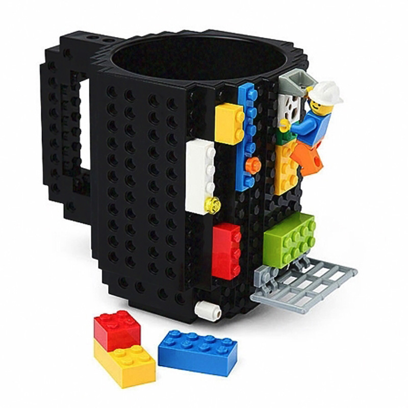 350ml Creative Lego bricks silicone stainless steel Travel Kids Adult Cutlery Drink Dinnerware Set for Child New Year Gift