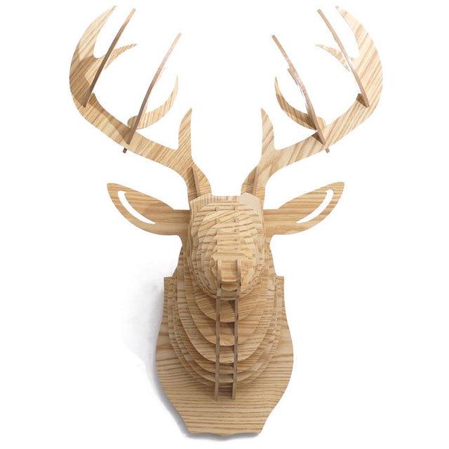 3d Woodcraft Patterns Puzzle Diy Wooden Deer Animal Head Taxidermy