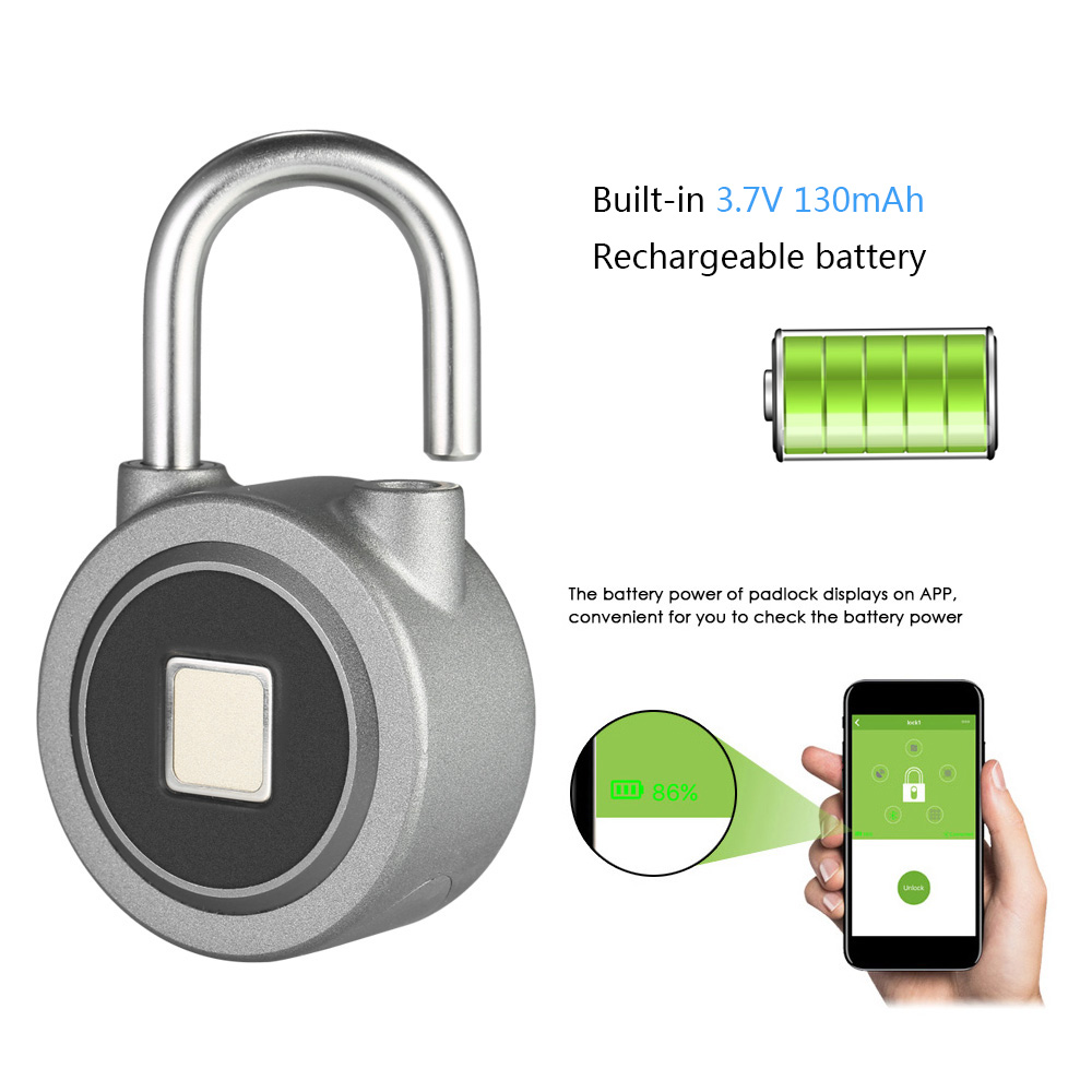 Newest Smart Keyless Fingerprint Lock APP Button Password Unlock Waterproof Anti-Theft Padlock Door Lock For Android IOS System