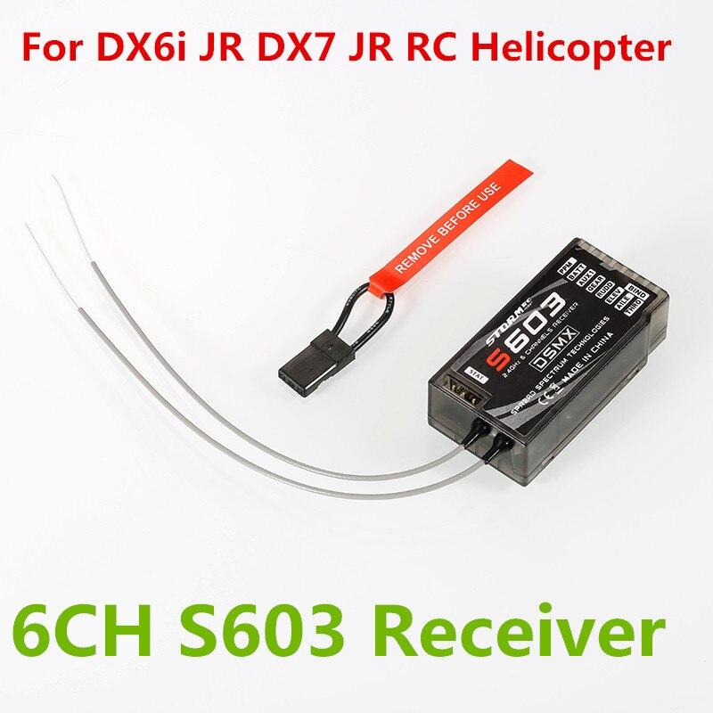 6CH S603 receptor 2.4 GHz digital spread modulación RX ppm para DX6i Jr DX7 Jr RC helicóptero radio digital receptores