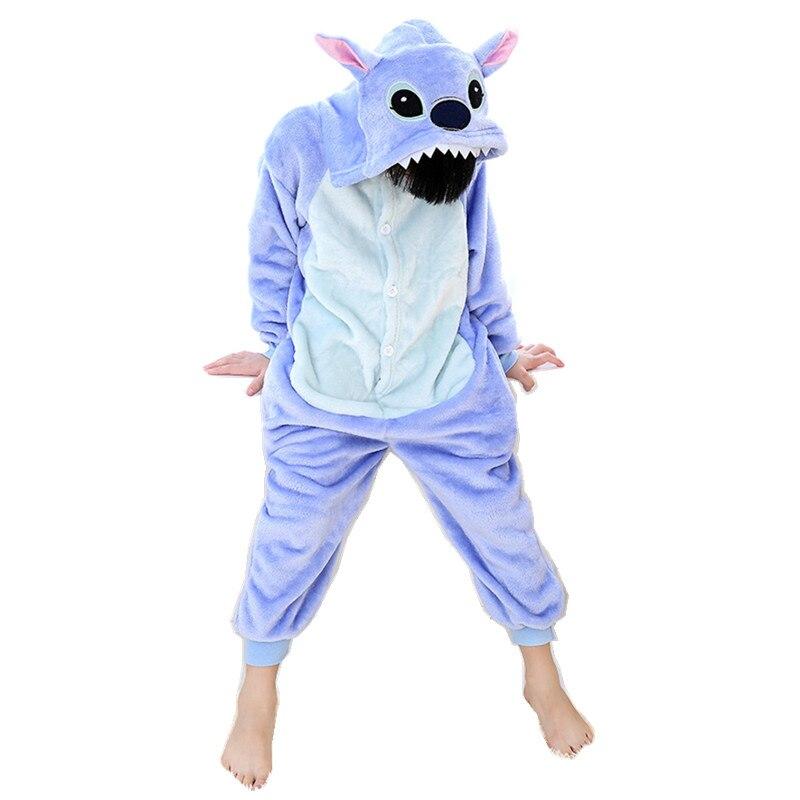 Cartoon Animal Blue Stitch Onesies pro děti Onesie pyžamo Jumpsuit mikiny Sleepwear pro děti