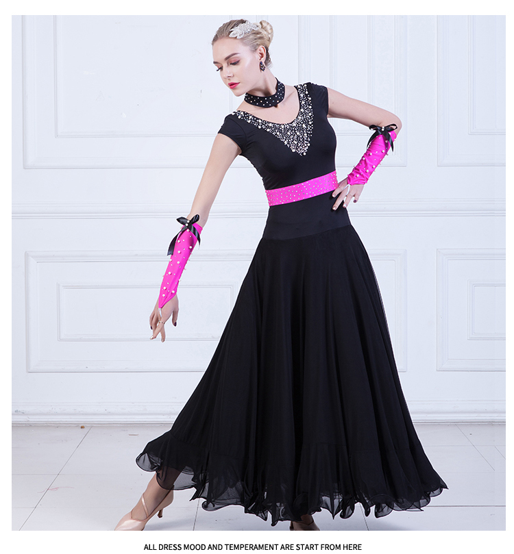 Ballroom Dance Dresses Women Sexy Diamond Waltz Dancing Costume Female Tango dancing Competition Suit D 0122