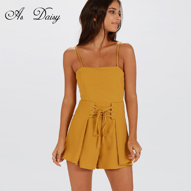 12b91ec5b0 As Daisy Spaghetti Strap Sexy Playsuit Women Rompers Yellow Black Short  Jumpsuit Backless Bow Sashes Summer Body Feminino JP0033