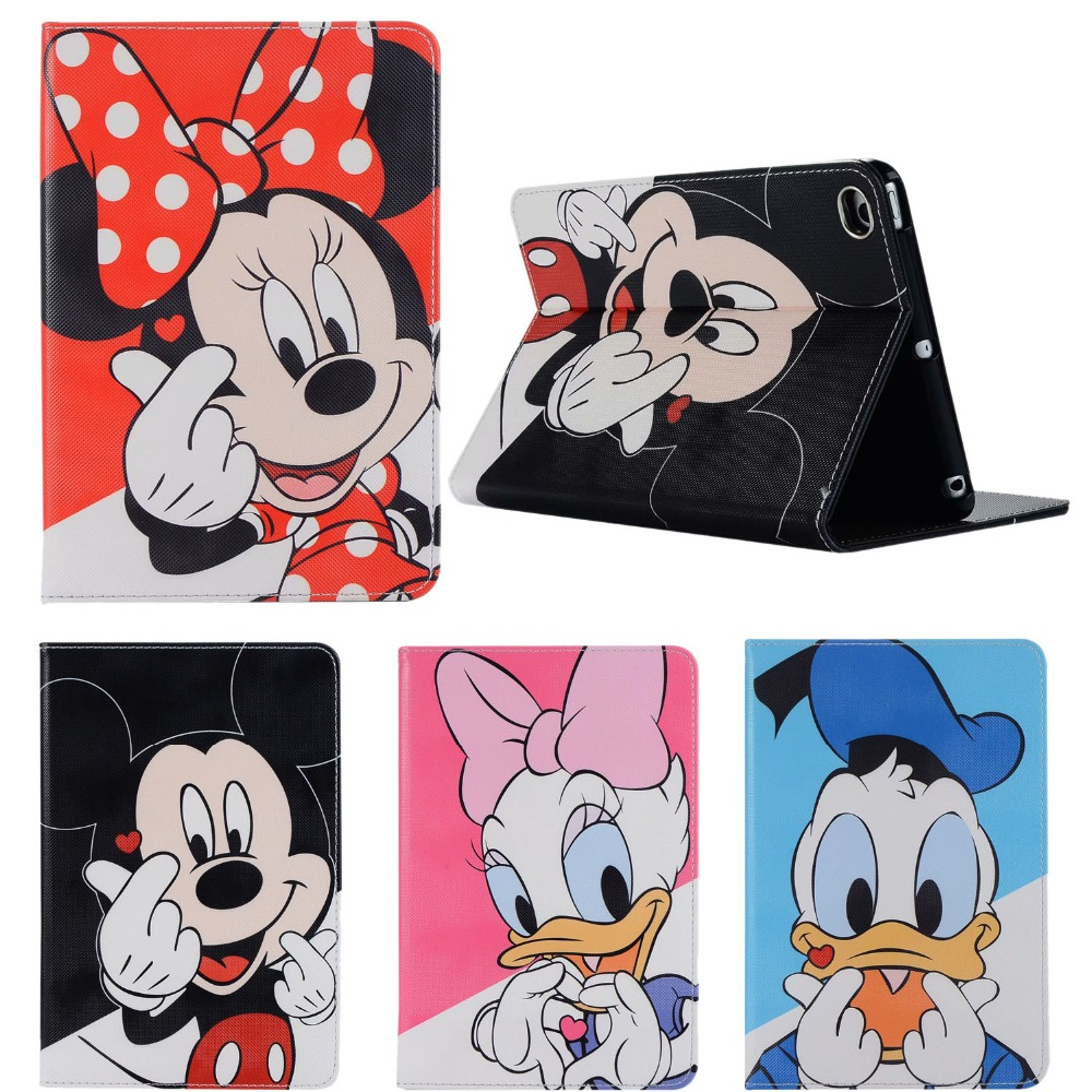 For Apple New Ipad 9.7 2017 2018 Leather Stand Case For Ipad Air 1/2 Ipad 5/6 Skin Cover Cartoon Mickey Minnie Mouse Protective