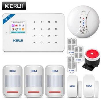 متخصصة KERUI W18 1.7 بوصة TFT شاشة WIFI GSM المنزل جهاز إنذار ضد السرقة نظام كاشف حركة APP التحكم النار جهاز إنذار الحريق والكشف عن الدخان